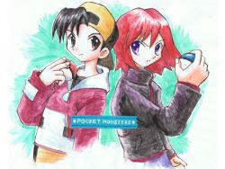 2boys aogaeru baseball_cap black_hair copyright_name gold_(pokemon) hat multiple_boys poke_ball pokemon pokemon_(game) pokemon_gsc red_hair silver_(pokemon)