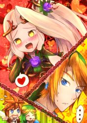 ... 2boys 2girls angel_wings artist_request bangs blonde_hair blue_eyes blush brown_hair commentary drooling earrings flying_sweatdrops green_hair hair_ornament hands_on_own_cheeks hands_on_own_face heart heart-shaped_pupils jewelry kid_icarus kid_icarus_uprising link multiple_boys multiple_girls nachure nintendo open_mouth palutena payot pit_(kid_icarus) speech_bubble spoken_heart super_smash_bros. sweat swept_bangs symbol-shaped_pupils the_legend_of_zelda viridi wings