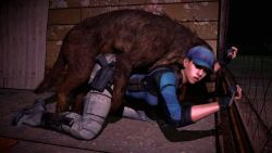 1girl 3d animated animated_gif bent_over bestiality brown_hair capcom clothed_sex denim dog doggystyle fingerless_gloves gloves gun hat jeans jill_valentine knife noname55 pants ponytail resident_evil sex vaginal weapon