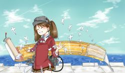 1girl ^_^ blue_sky brown_hair cloud eyes_closed grin japanese_clothes kariginu machinery magatama pier pleated_skirt raised_hand ryuujou_(kantai_collection) scroll shikigami simesabaikka skirt sky smile solo twintails visor_cap