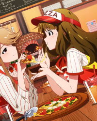 2girls :t brown_eyes brown_hair drinking_glass drinking_straw dutch_angle employee_uniform fast_food_uniform feeding food ice_cube idolmaster idolmaster_million_live! indoors jpeg_artifacts light_smile long_hair miyao_miya multiple_girls official_art oven pizza pizza_delivery profile table tenkuubashi_tomoka uniform visor_cap