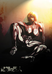 1girl against_wall blonde_hair breasts exposed_muscle female_titan hair_over_one_eye itt0ryu large_breasts no_nipples nude shingeki_no_kyojin short_hair sitting soles solo spread_legs toes