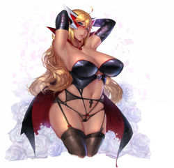 1girl absurdres ahoge armpits arms_behind_head arms_up bare_shoulders black_gloves black_legwear black_panties blonde_hair blue_eyes blush breasts cape cowboy_shot curvy doronjo elbow_gloves garter_belt garter_straps gloves gtunver highres large_breasts long_hair looking_at_viewer mask navel panties parted_lips skull solo thick_thighs thighhighs thighs time_bokan_(series) underwear wavy_hair wide_hips yatterman yoru_no_yatterman
