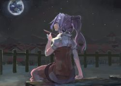 1girl back dress earth hair_ornament ichiba_youichi lavender_eyes lavender_hair long_hair looking_up night night_sky open_mouth ponytail profile puffy_sleeves red_dress sakazuki short_sleeves sitting sky solo star touhou watatsuki_no_yorihime