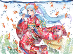 1girl air_bubble animal animal_print bangs bell bird_print blue_eyes blue_hair blush bow bubble_blowing checkered eyelashes fish fish_print flat_chest floating_hair floral_print flower furisode goldfish gradient_hair hair_between_eyes hair_bow hair_flower hair_ornament hatsune_miku holding japanese_clothes jingle_bell kimono long_hair long_sleeves looking_away multicolored_hair obi orange_bow parted_lips print_kimono purple_hair red_kimono sash seaweed submerged tassel transparent twintails underwater very_long_hair vocaloid wide_sleeves wind_chime wisteria xlavhzhr04