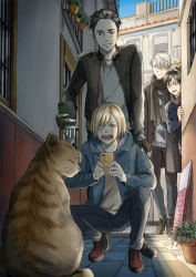 4boys alley black_hair blonde_hair blue_eyes brown_eyes building cat cellphone fingerless_gloves glasses gloves green_eyes hood hoodie katsuki_yuuri male_focus mamemomota multiple_boys open_mouth otabek_altin phone plant potted_plant scarf silver_hair smartphone smile squatting viktor_nikiforov yuri!!!_on_ice yuri_plisetsky