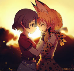 2girls animal_ears cat_ears cat_tail eyes_closed from_side hand_on_another's_face happy kemono_friends looking_at_another multiple_girls no_hat no_headwear open_mouth outdoors serval_(kemono_friends) serval_ears serval_print serval_tail smile spoilers standing sunset tail tears yaoshi_jun
