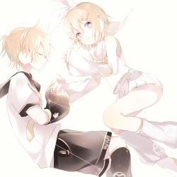 1boy 1girl arm_warmers blonde_hair blue_eyes bow brother_and_sister eyes_closed hair_bow hair_ornament hairclip headphones headset kagamine_len kagamine_len_(vocaloid4) kagamine_rin kagamine_rin_(vocaloid4) leg_warmers looking_at_viewer necktie niwa_(ejizon) sailor_collar short_hair shorts siblings skirt twins vocaloid white_bow white_skirt yellow_necktie
