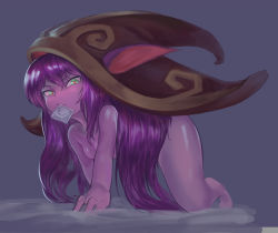 1girl all_fours animal_ears bent_over blush breasts condom condom_in_mouth condom_wrapper green_eyes heart-shaped_pupils highres league_of_legends long_hair lulu_(league_of_legends) mayhem nude purple_hair purple_skin small_breasts solo wizard_hat yordle