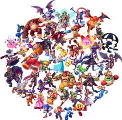 6+boys 6+girls absolutely_everyone abysswolf animal armor bird black_hair blonde_hair bodysuit bow_(weapon) bowser bowser_jr. captain_falcon charizard crown dark_pit diddy_kong dog dog_(duck_hunt) donkey_kong donkey_kong_(series) doubutsu_no_mori dr._mario dress duck duck_(duck_hunt) duck_hunt everyone f-zero falco_lombardi fire fire_emblem fire_emblem:_ankoku_ryuu_to_hikari_no_tsurugi fire_emblem:_kakusei fire_emblem:_monshou_no_nazo fox_mccloud game_&_watch ganondorf green_hair green_skin greninja grey_skin gun hair_ornament hat helmet ike jigglypuff kid_icarus kid_icarus_uprising king_dedede kirby kirby_(series) link little_mac lucario lucina luigi luma mario marth meta_knight metroid monkey mother_(game) mother_2 motor_vehicle motorcycle mr._game_&_watch multiple_boys multiple_girls my_unit ness nintendo olimar pac-man pac-man_(game) palutena pikachu pikmin_(creature) pit_(kid_icarus) pixel_art pokemon pokemon_(game) ponytail princess_peach princess_zelda punch-out!! r.o.b red_hair rockman rockman_(character) rosalina_(mario) rosetta_(mario) samus_aran sheik shulk simple_background sonic sonic_the_hedgehog star_fox stethoscope super_mario_bros. super_smash_bros. sword the_legend_of_zelda toon_link transparent_background vehicle villager_(doubutsu_no_mori) wario wario_land weapon wii_fit wii_fit_trainer wings xenoblade yoshi