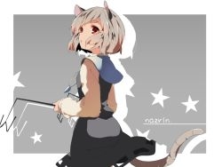 1girl animal_ears capelet character_name dowsing_rod grey_background grey_hair hasebe_yuusaku jewelry long_sleeves looking_at_viewer looking_back mouse_ears mouse_tail nazrin necklace open_mouth red_eyes shirt short_hair skirt skirt_set solo star tail touhou vest