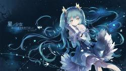 1girl aqua_eyes aqua_hair dress elbow_gloves gloves hatsune_miku highres k.syo.e+ long_hair solo twintails very_long_hair vocaloid