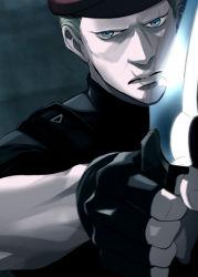 1boy beret blonde_hair blue_eyes chiya_(sere1) fingerless_gloves gloves hat jack_krauser knife resident_evil resident_evil_4 scar solo