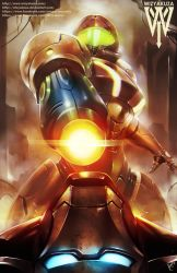 arm_cannon battle ceasar_ian_muyuela iron_man marvel metroid power_armor samus_aran varia_suit weapon