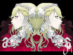 blonde_hair bone flower glowing glowing_eyes hairband jinbei letterboxed original profile red_eyes rose signature skull snake symmetry