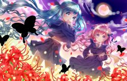 2girls black_dress black_shirt black_skirt blue_eyes braid butakimuchi butterfly closed_mouth copyright_request dress dutch_angle flower full_moon green_hair light_particles long_hair long_sleeves moon multiple_girls outdoors pink_hair purple_eyes sailor_dress school_uniform serafuku shirt silhouette skirt smile spider_lily standing twintails very_long_hair wind