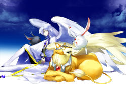 1boy black_mokona bun-o bunny card_captor_sakura creator_connection crossover kerberos lion long_hair mokona tsubasa_chronicle white_hair wings yue_(ccs)