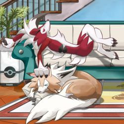 alternate_form animal_ears artist_name claws couch curling legs_crossed lycanroc lying no_humans petting pillow plant pokeball_symbol pokemon pokemon_(game) pokemon_sm potted_plant rug tail wolf_ears wolf_tail