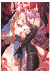 2girls absurdres armpits asymmetrical_docking bare_shoulders black_gloves blonde_hair blush breasts breasts_outside cross demon_girl demon_horns elbow_gloves garter_belt garter_straps gluteal_fold green_eyes habit horns lace lace-trimmed_thighhighs large_breasts long_hair looking_at_viewer looking_back multiple_girls nipples no_bra nun original panties pointy_ears purple_hair scan sister_mary skindentation slit_pupils succubus succubus_paum sweat tail tentacle thigh_strap thighhighs white_gloves white_legwear wings yang-do yuri zipper