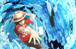 1boy adjusting_clothes adjusting_hat backpack bag bangs brown_hair brown_shorts green_eyes hat male_focus male_protagonist_(pokemon_sm) natsuno_hamuto pokemon pokemon_(creature) pokemon_(game) pokemon_sm red_shirt shirt short_hair shorts smile swept_bangs t-shirt trilby waves wishiwashi z-ring