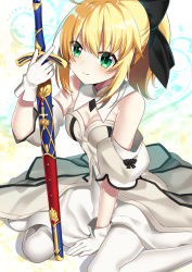 1girl blonde_hair blue_eyes blush dress fate/extra green_eyes long_hair ponytail saber_lily smile solo sword wariza warrior weapon