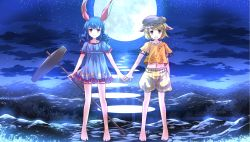 2girls animal_ears barefoot blue_dress blue_hair bunny_ears cloud dress full_moon hand_holding hat highres mallet midriff moon multiple_girls navel night open_mouth puffy_short_sleeves puffy_sleeves red_eyes ringo_(touhou) risutaru seiran_(touhou) short_sleeves sky smile star_(sky) starry_sky touhou