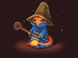 black_mage black_mage_(cosplay) charmander final_fantasy fire hat high_collar lowres mage no_humans pokemon ramy solo staff tail wizard_hat