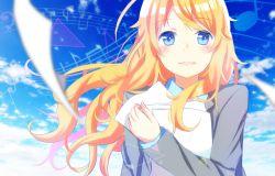 1girl blazer blonde_hair blue_eyes cloud miyazono_kaori musical_note paper school_uniform shigatsu_wa_kimi_no_uso sky smile solo staff_(music) yuiri_(blackmn)