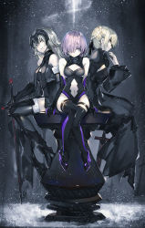 3girls arm_support armor armored_boots black_dress black_legwear boots dark_excalibur dark_persona dress elbow_gloves fate/grand_order fate/stay_night fate_(series) field_of_blades fur-trimmed_legwear fur_trim gloves high_heels highres jeanne_alter lavender_eyes lavender_hair long_hair looking_at_viewer multiple_girls navel night pale_skin profile puffy_sleeves ruler_(fate/apocrypha) saber saber_alter saberiii shielder_(fate/grand_order) short_hair sitting smile smirk snow snowing sword thighhighs weapon white_hair wide_sleeves