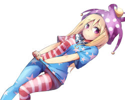 1girl american_flag_legwear american_flag_shirt blonde_hair clownpiece dutch_angle frown hat jester_cap long_hair looking_at_viewer purple_eyes rinoshii shirt_tug simple_background solo standing_on_one_leg touhou white_background