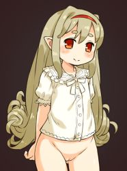 1girl blonde_hair blush bottomless brown_background cleft_of_venus eyebrows hairband loli long_hair looking_at_viewer mizuno_mumomo mound_of_venus original pointy_ears pussy red_eyes simple_background smile solo