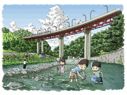 1girl 3boys black_hair bridge brown_hair bucket building child cloud fish fishing fishing_rod fishnets hat lamppost mountain multiple_boys okino_hirofumi open_mouth original real_world_location river sakawa_river short_hair water