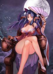 1girl ass breasts cleavage elf fan high_heels large_breasts legs_crossed moon one_eye_closed pointy_ears purple_hair smile solo thighs throne yellow_eyes