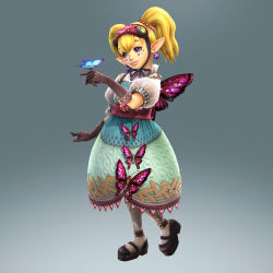 3d agitha blonde_hair blue_eyes butterfly dress earrings full_body gloves gothic_lolita gradient_background highres jewelry lolita_fashion long_hair nintendo official_art pendant pointy_ears solo the_legend_of_zelda twilight_princess twintails zelda_musou