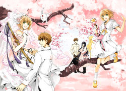 2boys 3girls ahoge bad_id black_hair bride brown_eyes brown_hair card_captor_sakura cardcaptor_sakura cherry_blossoms daidouji_tomoyo dual_persona fancybetty green_eyes kero kinomoto_sakura li_xiaolang long_hair mokona multiple_boys multiple_girls sakura_hime school_uniform short_hair smile staff sword time_paradox tree tsubasa_chronicle weapon xiaolang