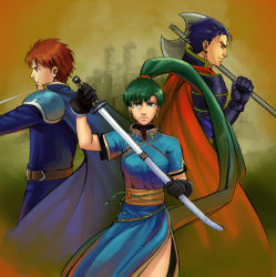 1girl armor axe belt blue_eyes blue_hair breasts cape castle circlet drawing_sword earrings eliwood eliwood_(fire_emblem) fire_emblem fire_emblem:_rekka_no_ken gloves green_eyes green_hair hector hector_(fire_emblem) high_ponytail jewelry long_hair lyndis_(fire_emblem) nemi pauldrons ponytail rapier red_eyes red_hair sheath side_slit sword very_long_hair weapon