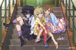 1boy 2girls absurdres ahoge barefoot comp_h's crossdressing dress feet highres hirayama_eiji mako-chan_(minami-ke) makoto_(minami-ke) mary_janes minami-ke minami_chiaki minami_touma multiple_girls official_art shoes single_shoe stairs thighhighs toes trap