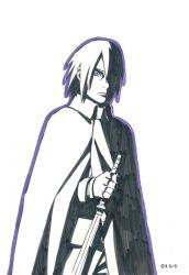 1boy cloak fingerless_gloves hair_over_one_eye kishimoto_masashi monochrome naruto official_art solo sword uchiha_sasuke