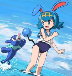1girl :d animal_ears azumarill azumarill_(cosplay) bangs bare_shoulders black_eyes blue_eyes blue_hair blue_sky blue_swimsuit blush cloud cosplay covered_navel day dutch_angle fake_animal_ears fake_tail flat_chest flipped_hair from_side full_body hair_ornament hairband hand_up happy in_water jumping legs looking_at_another motion_lines new_school_swimsuit ocean one-piece_swimsuit open_mouth outdoors outstretched_arm partially_submerged pokemon pokemon_(creature) pokemon_(game) pokemon_sm popplio sailor_collar school_swimsuit shirt short_hair sky sleeveless sleeveless_shirt smile splashing standing suiren_(pokemon) swimsuit swimsuit_under_clothes tail tail_wagging takamame trial_captain wading water water_drop wet white_shirt