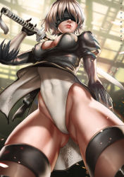 1girl blindfold breasts cameltoe cleavage dandon_fuga dress dress_lift from_below gluteal_fold highleg highleg_leotard leotard leotard_under_clothes mole mole_under_mouth nier_(series) nier_automata silver_hair solo sword thighhighs weapon wind wind_lift yorha_no._2_type_b