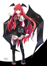 1girl amano_kenpi bat_wings black_gloves black_legwear book character_name dated full_body gloves head_wings koakuma long_hair necktie puffy_sleeves red_eyes red_hair shirt shoes short_sleeves skirt skirt_set smile solo thighhighs touhou twitter_username vest wings zettai_ryouiki