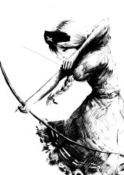 1girl aiming arrow bow_(weapon) braid breasts commentary dress faux_traditional_media greyscale hat highres large_breasts long_hair monochrome nurse_cap ougibro_(spookybro) ponytail profile short_sleeves simple_background solo touhou weapon white_background yagokoro_eirin