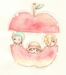 3boys apple black_hair blonde_hair chibi eating food green_hair hair_over_one_eye hat male_focus miniboy monkey_d_luffy multiple_boys one-eyed one_piece roronoa_zoro sanji straw_hat trio