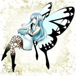 aerie_(bravely_default) bravely_default:_flying_fairy brown_eyes dress eirun fairy_wings legs_crossed long_hair pointy_ears silver_hair smile wings
