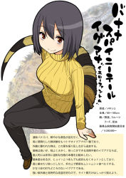 1girl character_profile gujira iguana lizard personification ribbed_sweater solo sweater tail translation_request turtleneck