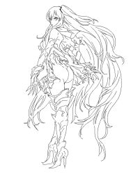 1girl absurdly_long_hair aircraft_carrier_hime ass boots claws cosmic_bear eyelashes gloves high_heel_boots high_heels kantai_collection long_hair looking_at_viewer looking_back monochrome shinkaisei-kan simple_background sketch solo torn_clothes very_long_hair white_background
