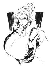 1girl breasts cleavage gigantic_breasts glasses hand_on_hip kangoku_gakuen looking_at_viewer monochrome shiraki_meiko simple_background solo white_background yazakc