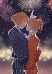 1boy 1girl blonde_hair blue_eyes blush brother_and_sister eyes_closed fire_flower_(vocaloid) fireworks hair_ribbon hand_on_another's_neck head_to_head japanese_clothes kagamine_len kagamine_rin kimono kinokohime_(mican02rl) night night_sky parted_lips ponytail ribbon short_hair siblings sky star_(sky) starry_sky striped vocaloid yukata