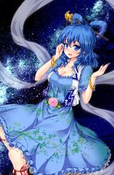 1girl blue_dress blue_eyes blue_hair blush bracelet breasts cleavage collarbone dress floral_print flower hair_ornament hair_rings hair_stick highres hyoumon_(saihokutan) jewelry kaku_seiga lipstick looking_at_viewer makeup medium_breasts nail_polish night night_sky ofuda outdoors puffy_short_sleeves puffy_sleeves rose shawl short_sleeves sky smile solo star_(sky) starry_sky touhou tree