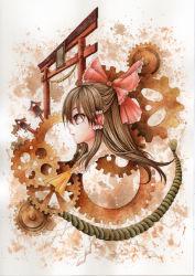 1girl ass bow brown_eyes brown_hair gears hair_bow hair_tubes hakurei_reimu long_hair mosho rope shimenawa solo torii touhou traditional_media